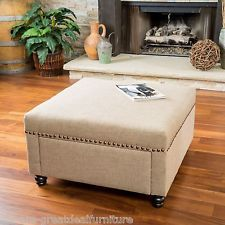 Image result for grey ottoman with tray and gold nailheads