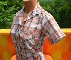 vintage 70's blouse PLAID short sleeve shirt tailored country western preppy women Small Medium mh selections