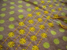 (via embroidery / sashiko in modern style…it could be a polka dot version of broderie swisse)