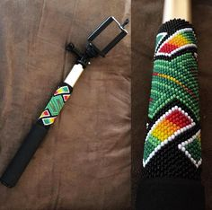 Beaded selfie stick #beadwork #indigenous #nativedesigns
