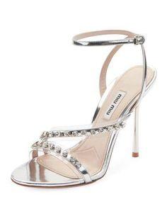 1aed36e82b93 Miu Miu Metallic Jeweled High-Heel Sandals. Metallic SandalsSilver HeelsMiu  ...