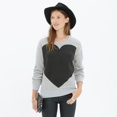 Madewell Heart Sweatshirt Worn but in good condition. Madewell Tops Sweatshirts & Hoodies