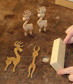 Wooden Reindeer Figures