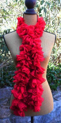 Crochet Ruffle Scarf in RH Sassy Lace Scarlet Sashay Yarn, Crochet Ruffle Scarf, Scarlet, Sassy, Lace, Accessories, Fashion, Moda, Fashion Styles