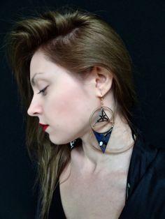 Tennin dangle handmade earrings polymer clay paint by BlameEve, €31.00