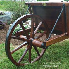 Amish Made Jumbo Wooden Wheelbarrow With Removable Sideboards