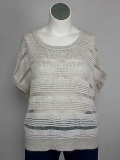 BLUE Saks 5th Ave XL Beige Cashmere Wool Open Weave Burn Out Knit Sweater Plus #BlueSaks5thAve #OpenWeaveSweater