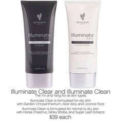 Illuminate Clean and Illuminate Clear are made in the USA. Clear is brand new and formulated for normal to dry skin, or for people with very sensitive skin. Clean's more mild formula is still powerful enough to gently cleanse your sensitive skin.   Illuminate Clear started out as our popular first cleanser, Awake. It contains the same key ingredients, but we've refined the formula and brought the manufacturing to the US