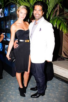 Brian strikes a pose with his muse, model Candice Swanepoel during his #NYFW kick-off party. #BrianAtwood