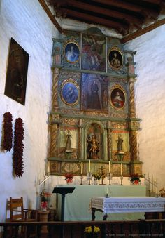 Chapel of San Miguel Spanish Mission, interior, Santa Fe, New Mexico