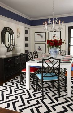 """I WANT THIS DINING ROOM!!!    Sarah Richardson - Dining Room Advice """"ADD A YOUTHFUL ENERGY  Try painting the woodwork in a light, silvery tone, then turning colour theory upside down by going darker in the space above the plate rail. Expand the view by highlighting window frames and recessed door panels with black paint to pull the sightlines through the space."""""""