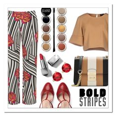 """""""#118"""" by gpramasita ❤ liked on Polyvore featuring Manon Baptiste, The Fifth Label, Gucci, MICHAEL Michael Kors, Giorgio Armani, Burberry, Kate Spade and stripedpants"""