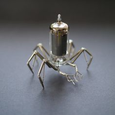 Vacuum Tube Spider Sculpture No 3 Mechanical Recycled Watch Parts Clockwork Arachnid Figurine Stems Lightbulb Arthropod A Mechanical Mind via Etsy