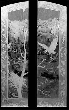 Etched glass eagle landscape doors. Aspen, Co. Really nice.