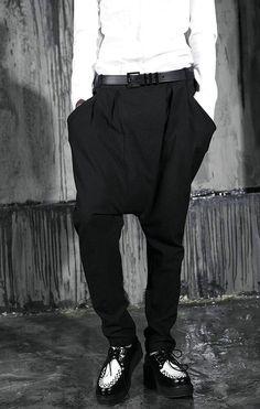 f5e1174506c1 New Mens Awesome Baggy Drop Crotch Unique Hip Hop Black Harem Pants  Streetwear