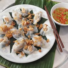 Banh Bao Vac (white rose dumplings), a Hoi An (in Vietnam) specialty, are  translucent rice dumplings filled with shrimp paste.