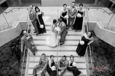 Aerial bridal party photo! Renaissance Schaumburg Hotel Wedding Photography Brittany Lynn Studios