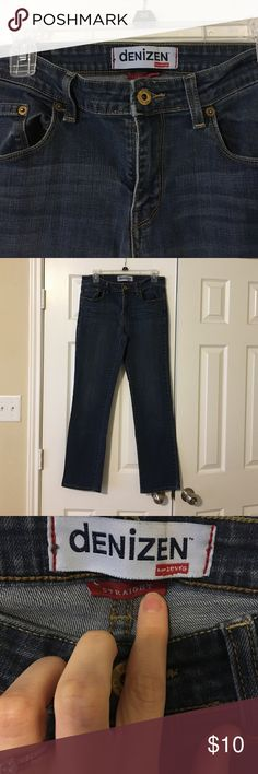 Denizen Straight Leg Jean Size tag has been removed. Waist is 15 inches (hip to hip). Inseam 29 inches. Great condition. Thick denim. Jeans Straight Leg