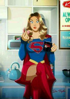Supergirl desayunando.