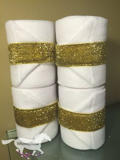 White and gold glitterati ribbon polo wraps by WhinneyWear