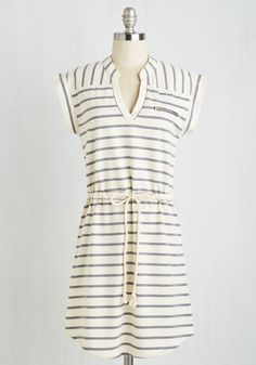Bed and Boardwalk Dress. Enjoy the sunrise from the shoreside patio of a quaint BB, dressed in this ivory-and-grey striped frock. #multi #modcloth
