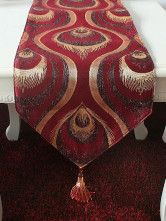 photo 2 of 6 Applique Jacquard Peacock Quality Table Centerpieces-No.2