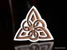 Wood Block Stamp, Tjaps, Indian Wood Stamp, Pottery Stamp, Textile Stamp, Hand Carved - Celtic Triangle