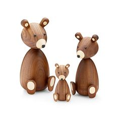 Bear Figurine Designer: Skjode Manufactured by: Lucie Kaas Dimensions (in): See Options Below. This Bear is lovingly crafted from dark American Walnut with ligh