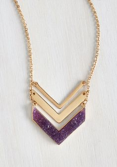 A Druzy of a Time Necklace. Show you're set for an whirlwind of adventure by donning this unique, festival-ready necklace! #purple #modcloth