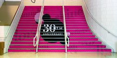 Creative use of Photo Tex for event signage on stairs.