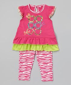 Look what I found on #zulily! Weeplay Kids Fuchsia Shades Tunic & Zebra Leggings - Infant, Toddler & Girls by Weeplay Kids #zulilyfinds