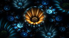 3840x2160 Wallpaper fractal, flowers, abstract