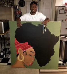 46 Ideas Black Art Painting African Americans Canvases For 2019 Black Love Art, Black Girl Art, Art Girl, Red Black, Black Art Painting, Black Artwork, Afro Painting, African American Art, African Art
