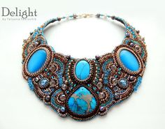This listing is for a Bead Embroidered Necklace (collar). This beautiful statement necklace is made in colors of blue and bronze and has black Seed Bead Jewelry, Beaded Jewelry, Handmade Jewelry, Beaded Necklace, Beaded Bracelets, Silver Jewelry, Stone Jewelry, Crystal Jewelry, Jewelry Crafts