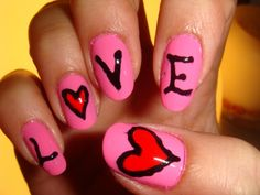 Cute idea for Valentines Day! // @Megan Stancil or @Madison Rose let's do it! Check out more Nail Arts at www.nails4viet.com