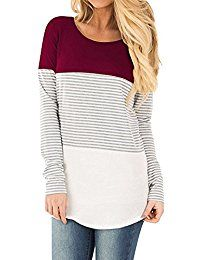 Women s Color Block Short Long Sleeve T Shirt Casual Stripe Round Neck Tunic  Tops. Fashion Trends 101 f6b92e3d83a7
