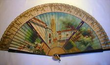 Antique LARGE BRISE LACQUERED FAN with Hand Painted FIGURAL & GARDEN Scenes