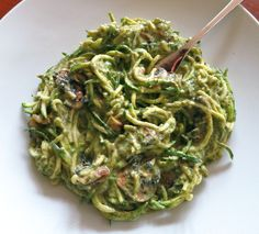 Creamy courgette spaghetti: gluten and dairy free | Deliciously Ella -3 out of 5- This version is better because of the zucchini noodles and mushrooms. Not great with regular noodles.