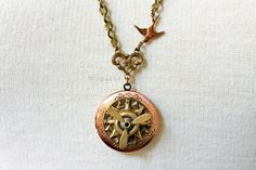 Compass Locket Necklace with moving propeller by MDsparks on Etsy, $25.00