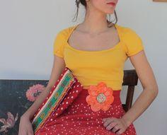 ''frida khalo''   cotton bag & leather flower  belt