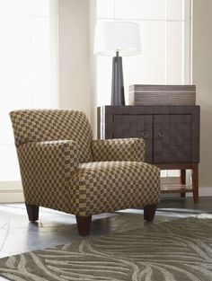 Really add texture and character to the living room with a bright geometric pattern and tapered wooden legs -- Meryl Chair | cort.com