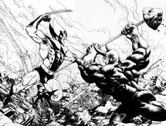 Wolverine vs Rhino by davidyardin.deviantart.com