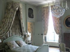 A lovely bedroom at the Château de la Motte-Tilly, Seine-et-Marne, decorated in impeccable 18th-century French style