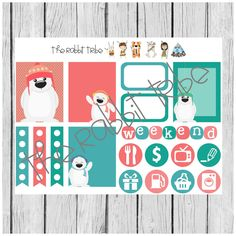 Weekly sticker set - polar bear - planner stickers by TheRabbitTribe on Etsy
