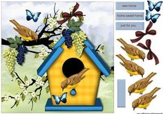 Birdhouse Bird New Home on Craftsuprint designed by Marijke Kok - Great card for a new home, with a birdhouse, birds,flowers,and butterflies,very cute!! - Now available for download!
