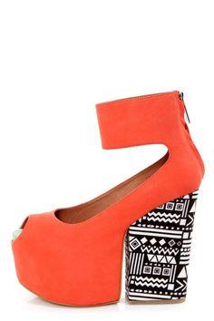 Matiko Francesca Papaya and Tribal Print Platform Wedge Heels - $207.00