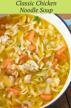Chicken Noodle Soup is a classic soup recipe made with chicken carrots celery onion and egg noodles in a seasoned broth ready in under 45 minutes! Easy Soup Recipes, Healthy Chicken Recipes, Cooking Recipes, Chicken Broth Recipes, Healthy Soup, Recipes Dinner, Beef Recipes, Classic Soup Recipe, Homemade Chicken Soup