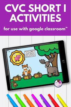 How about some NO PREP paperless digital CVC Words fun? This CVC short I Google Slides™ product is compatible with Google Classroom™. All you do is download, assign, Teaching Phonics, Kindergarten Literacy, Literacy Centers, Short I Activities, Short I Words, Woodland Animals Theme, Blending Sounds, First Grade Phonics