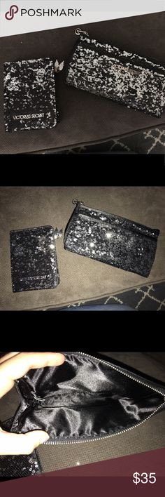 VS Sequin Clutch & Wallet Set VS Black & Silver Sequin Clutch & Wallet Set. Great and clean condition. Was never used. Smoke free home. Asking $35 OBO! Victoria's Secret Bags Wallets