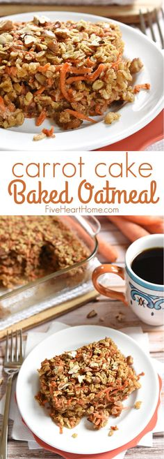 Carrot Cake Baked Oatmeal {Dairy-Free} ~ a tasty, wholesome breakfast recipe featuring rolled oats, grated carrots, coconut oil, and maple syrup, with flavors of the classic dessert | FiveHeartHome.com